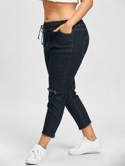 Ripped Plus Size Drawstring Jeans - CERULEAN 3XL