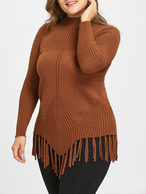 High Neck Fringed Ribbed Plus Size Sweater - KHAKI 4XL