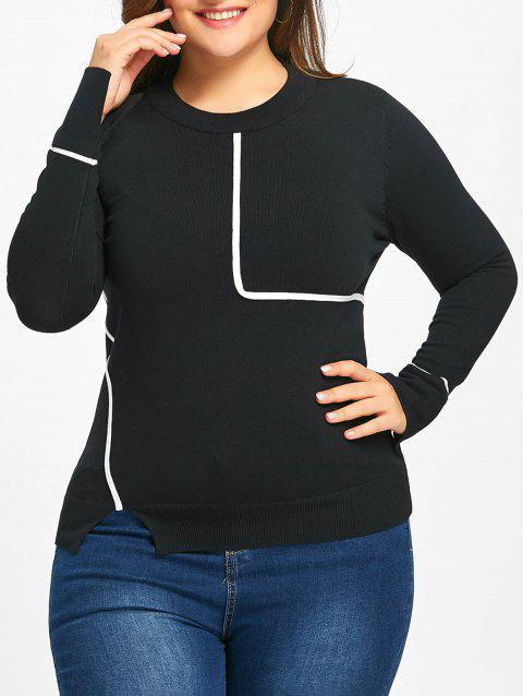 Plus Size Slit Striped Sweater - BLACK 4XL