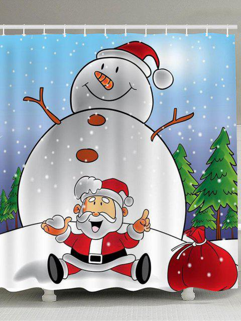 Snowman And Santa Claus Printed Shower Curtain - COLORFUL W71 INCH * L71 INCH