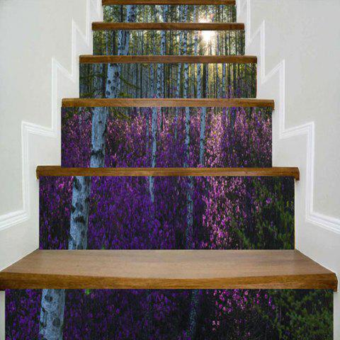 Forest Flower Print Home Decor Stair Stickers - COLORMIX 100*18CM*6PCS