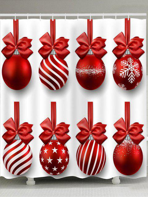Christmas Hanging Balls Print Shower Curtain - RED/WHITE W59 INCH * L71 INCH