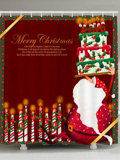 Santa Claus Cake And Candles Printed Shower Curtain - DEEP RED W71 INCH * L71 INCH