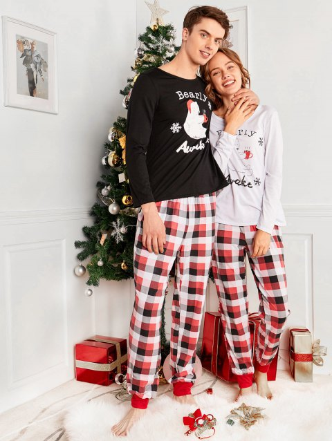 Bear Plaid Printed Family Christmas Pajama - RED DAD XL