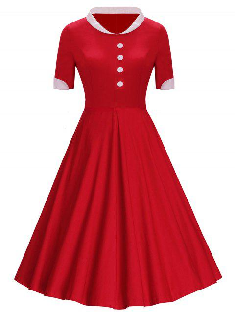 Boutons de col montant Midi Vintage Dress - Rouge 2XL
