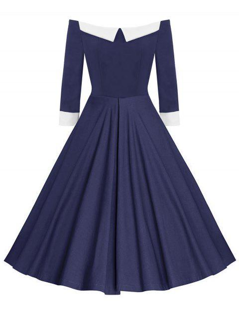 Fit and Flare Off The Shoulder Dress - BLUE M