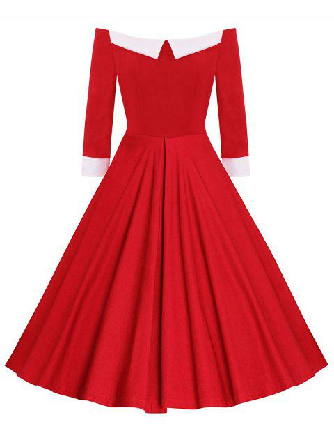 Fit and Flare Off The Shoulder Dress - RED L