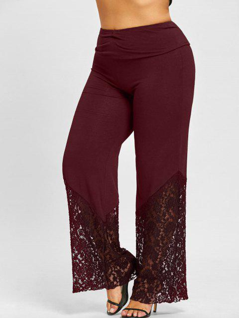Plus Size Lace Panel Palazzo Pants - BORDEAUX 3XL
