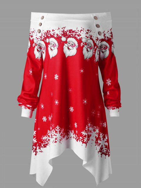 Christmas Plus Size Convertible Collar Tunic Top - RED/WHITE XL