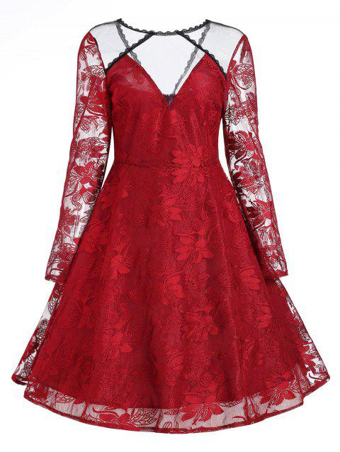 Floral Lace Panel Vintage Overlay Dress - RED M