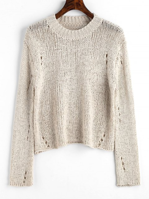 Ripped Hollow Out Pullover Sweater - LIGHT APRICOT ONE SIZE