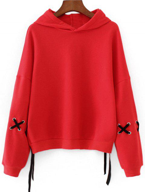 Lace Up Sleeve Drop Shoulder Hoodie - RED S