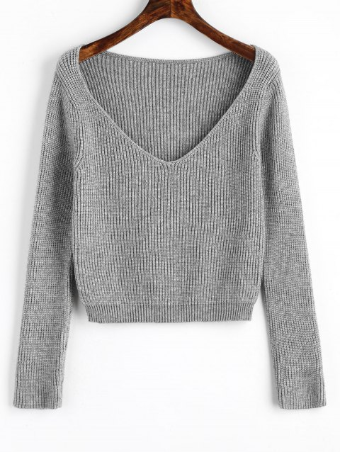 V Neck Cropped Pullover Sweater - GRAY ONE SIZE