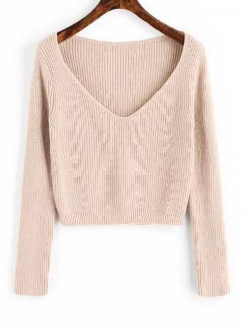 V Neck Cropped Pullover Sweater - APRICOT ONE SIZE