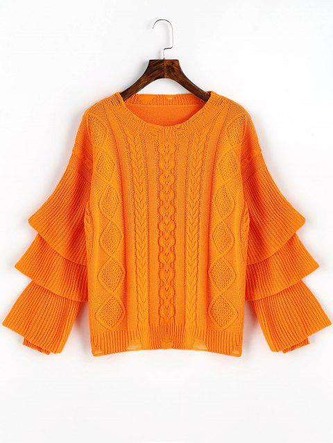Pull en Maille Torsadée à Manches Multi-Couches - rouge orange ONE SIZE