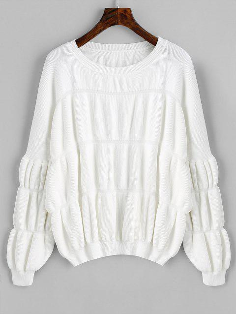 Lantern Sleeve Pullover Oversized Sweater - WHITE ONE SIZE
