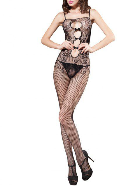 Open Crotch Cami Fishnet Lingerie Bodystockings - BLACK ONE SIZE