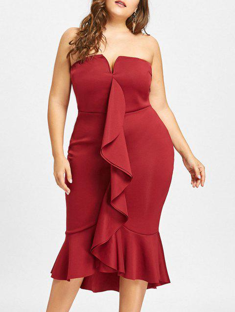 b48a7d8b65b LIMITED OFFER  2019 Plus Size Mermaid Ruffle Tube Dress In WINE RED ...