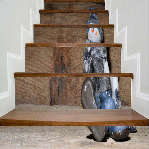 Christmas Snowman Wood Grain Stair Stickers - WOOD COLOR 100*18CM*6PCS