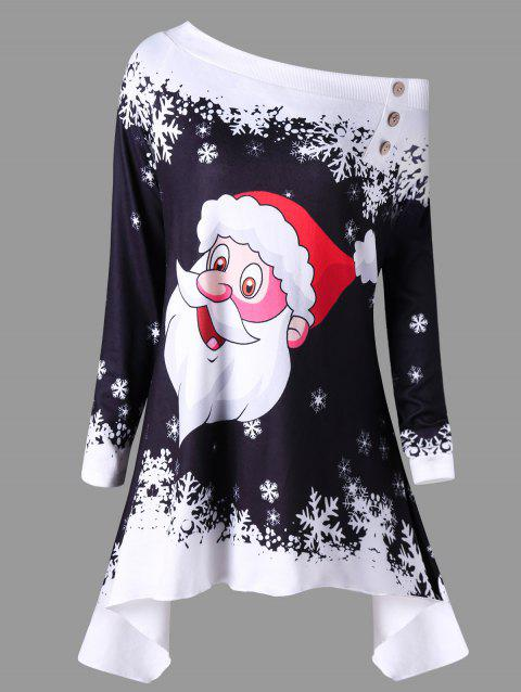Christmas Skew Neck Santa Claus Snowflake Asymmetric Top - BLACK L