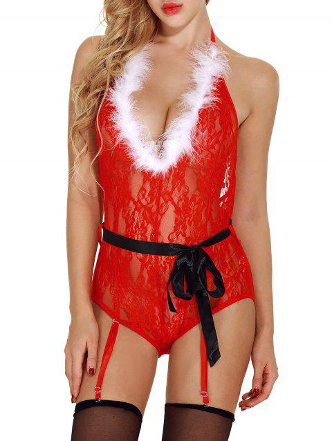Feather Sheer Lace Christmas Lingerie Teddy with Garters - RED M