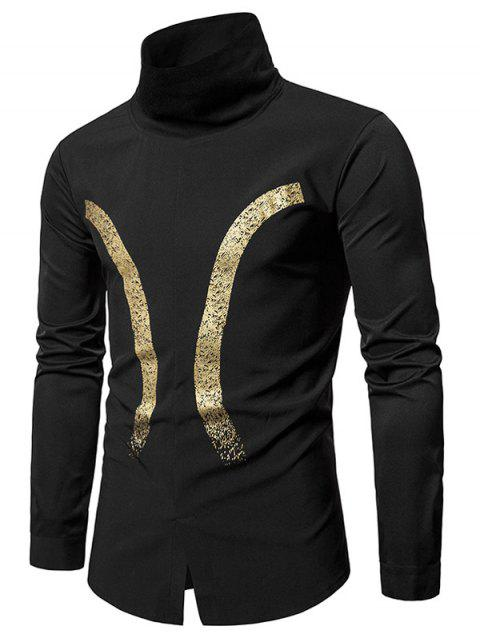 Bronzing Printed Rib Turtle Neck Pullover Shirt - BLACK 2XL