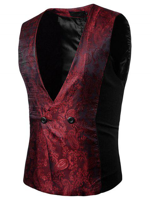 V Neck Double Breasted Paisley Waistcoat - WINE RED L