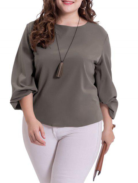 Plus Size Puff Sleeve Casual Blouse - DARK GRAY XL