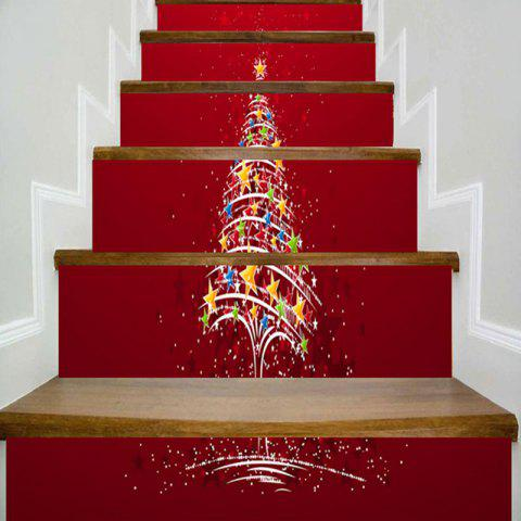 Star Christmas Tree Printed Decorative Stair Stickers - RED 100*18CM*6PCS