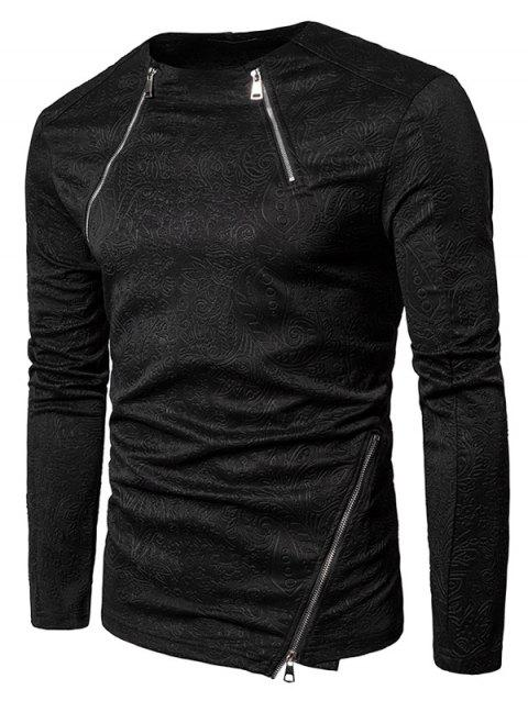 Florals Emboss Zippers Long Sleeve T-shirt - BLACK L