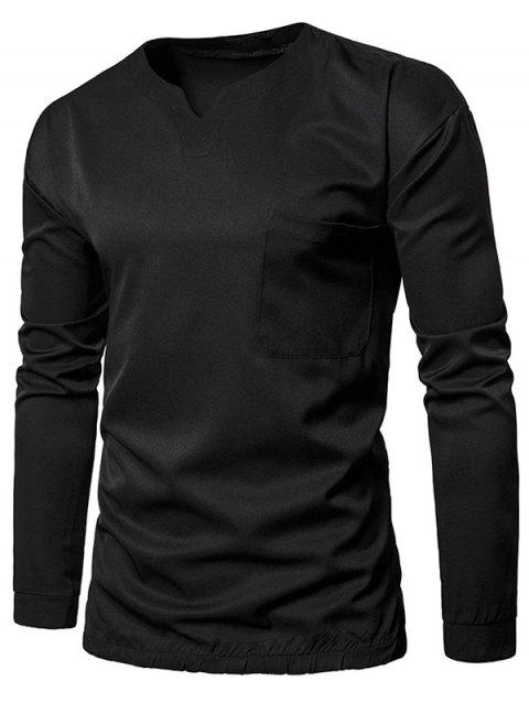 Pocket Elastic Waist Long Sleeve T-shirt - BLACK 2XL