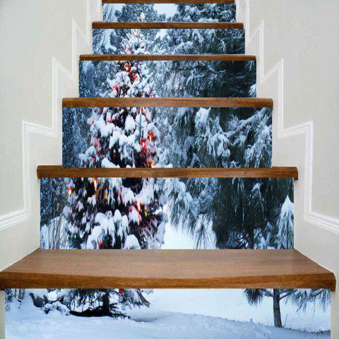 Christmas Snow Tree Print Home Decor DIY Stair Stickers - COLORMIX 100*18CM*6PCS