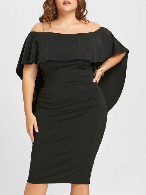 17 Off 2018 Plus Size Overlay Off The Shoulder Dress In Black Xl