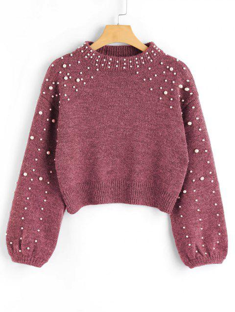 Mock Neck Faux Pearl Sweater - RUSSET RED M