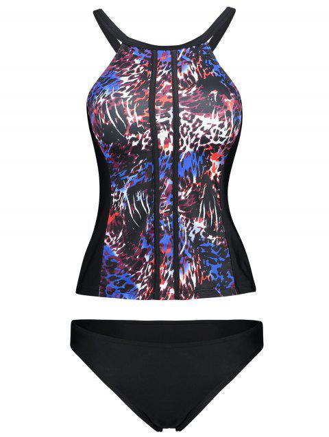 Criss Cross Printed Tankini Swimsuit - COLORMIX XL