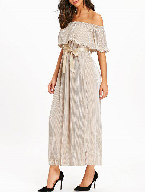 Pleated Off The Shoulder Maxi Dress - APRICOT L