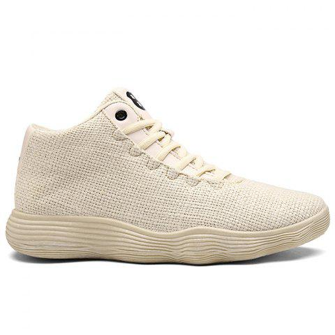 Mesh Cloth Breathable High Top Sneakers - BEIGE 40
