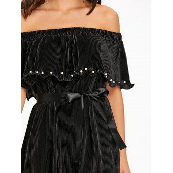Pleated Off The Shoulder Maxi Dress - BLACK L