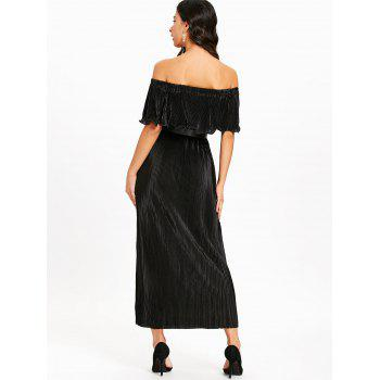 Pleated Off The Shoulder Maxi Dress - BLACK BLACK
