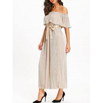 Pleated Off The Shoulder Maxi Dress - APRICOT APRICOT