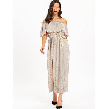 Pleated Off The Shoulder Maxi Dress - APRICOT XL