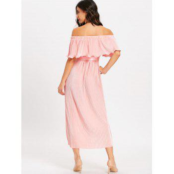 Pleated Off The Shoulder Maxi Dress - PINK PINK