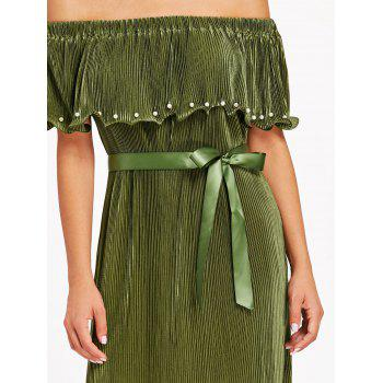 Pleated Off The Shoulder Maxi Dress - ARMY GREEN L