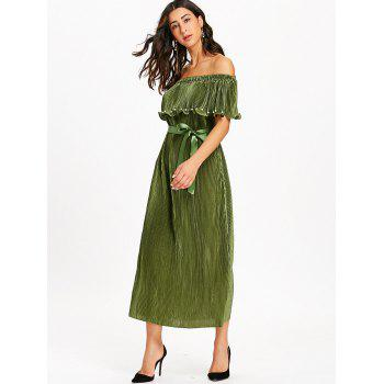 Pleated Off The Shoulder Maxi Dress - ARMY GREEN ARMY GREEN