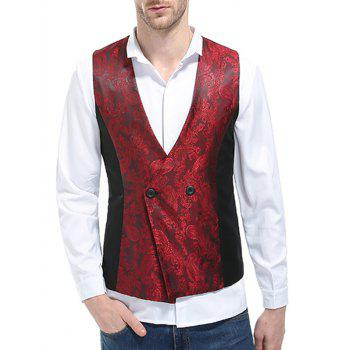 V Neck Double Breasted Paisley Waistcoat - WINE RED XL