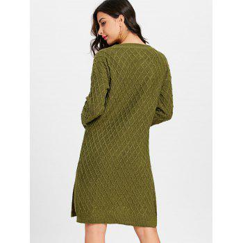 High Slit V Neck Argyle Sweater Dress - ARMY GREEN ARMY GREEN