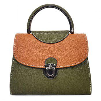 Faux Leather Color Blocking Handbag With Strap - GREEN GREEN
