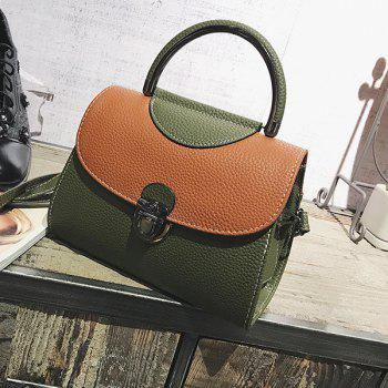 Faux Leather Color Blocking Handbag With Strap - GREEN