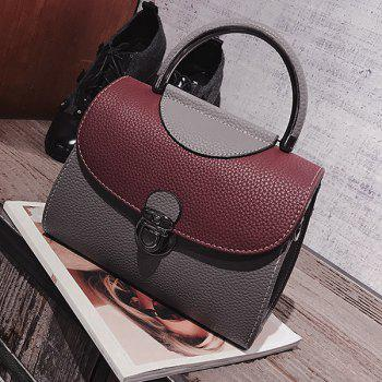 Faux Leather Color Blocking Handbag With Strap -  GRAY