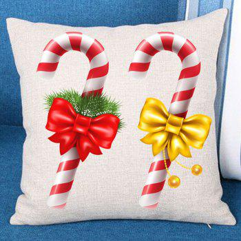 Christmas Bowknot Candy Stick Print Decorative Pillowcase - COLORFUL COLORFUL